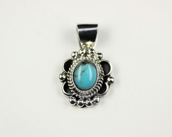 Native American Indian Jewelry Sterling Silver Turquoise Pendant