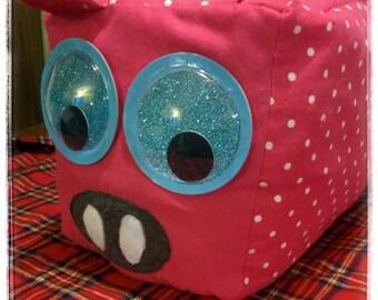 Square Pig stuffed animal, pillow.