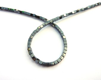 Pearl dark gray shiny square hematite PCH2-045 wire length of 38 cm