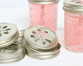 25 Gold Pewter Daisy Cut Mason Jar Lids for Straws