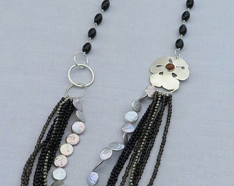 Sterling Silver 925, black agate, smoky, quartz necklace pyrite and freshwater pearls