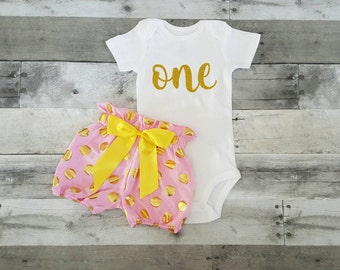 First Birthday Girl Outfit / Gold Onesie / Girl Birthday Outfit / Cake Smash Outfit /  Gold One Onesie with High Waisted Shorts & Headband