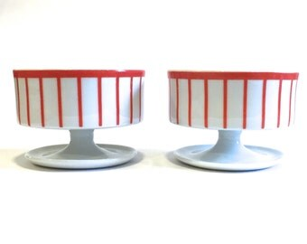 Pair of Porcelain Dessert Cups or Stemmed Bowls Sorbet Ice Cream | Red and White Stripe | Mid Century Modern Stamped Solar