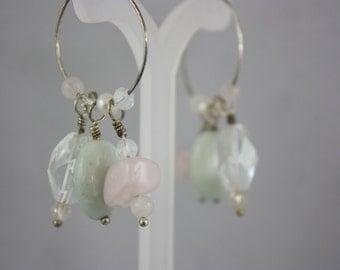 earrings, stone chip earrings, hand made jewelry, handmade jewelry, hoop earrings, drop earrings, dangle earrings,