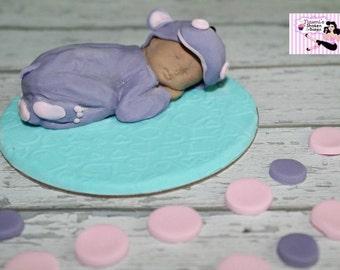 1x Cute Baby Hippo Fondant Edible Cake Cupcake Topper 2-3 inch base