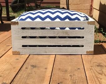 Dark blue and white chevron crate dog bed