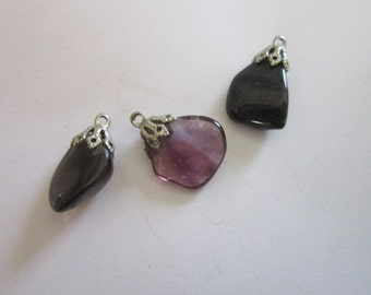 Vintage Polished Stone Amethyst and Smokey Quartz Necklace Pendants (Lot of 3)