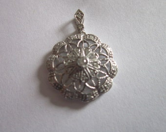 Vintage Designer STS 14k Solid White Gold and Real Diamonds Necklace Pendant - Stunning!