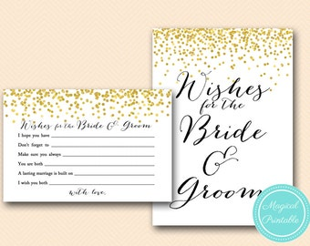 Wishes for the Bride and Groom Card, Sign, Wishes cards, Advice for bridal, Gold Confetti Bridal Shower, Bachelorette, Wedding Shower BS46