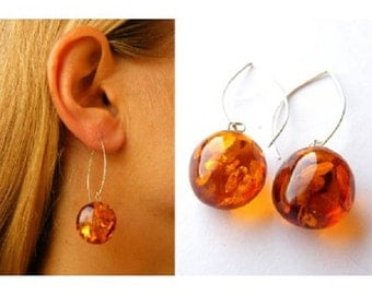 Earrings, Amber earrings, COGNAC, amber ball, amber beads,modern, for woman, new fashion, giftbox, Silver 925, NEW, UNIQUE- Handmade