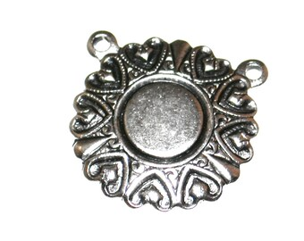 Qty. 4 Pendants with 2-Rings w/6mm Pad - 15mm