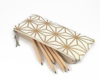 Pencil zipper case, Gold pencil case, Office gift for her, Desk accessories, Desk organiser, Gold pencil pouch, Office desk accessories