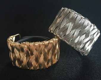 """Fitbit Surge Bracelet Cover Enhancer Cuff """"Wired Weave"""" Choice: Silver or Gold TrackerStackers Flex Charge HR Surge Jawbone Up2 Up3 Up4 Up24"""