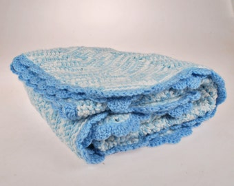 Vintage Crocheted Baby Blanket - Blue and White Cream Baby Blanket