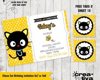 Personalized Choco Cat Birthday Invitation FREE Tags