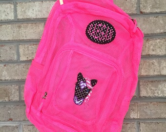 Monogrammed Backpack | Mesh Backpack | Back to School | Girls Backpack | Horse Backpack | Book Bag | Kids Backpack | School Bag | Backpack
