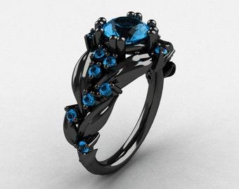Nature Inspired 14K Black Gold 1.0 Ct Blue Topaz Leaf and Vine Engagement Ring R340-14KBGBT