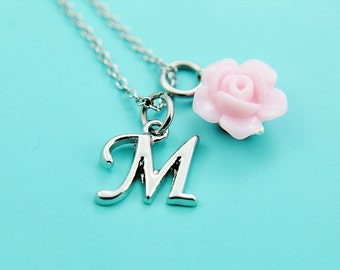 Flower Gril Neckalce | Wedding Jewelry | Initial Letter Charm | Pink Flower Charm | Personalized | Initial Necklace | Initial Charm Monogram
