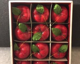 Sears Christmas Apples Tree Ornaments - Box Of Twelve