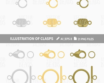 Lobster, Magnetic, Ring & Toggle Clasp Clip Art Pack. Jewelry Findings Vector Illustration - pdf, png, ai, eps