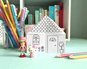 Printable Origami House to COLOR!- Digital File- Instant Download- paper craft, paper house, coloring page