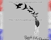 Cutting file eagle feather morphing into flying eagles, in Jpg Png SVG EPS DXF for Cricut & Silhouette, plotter hobby datei file, clipart