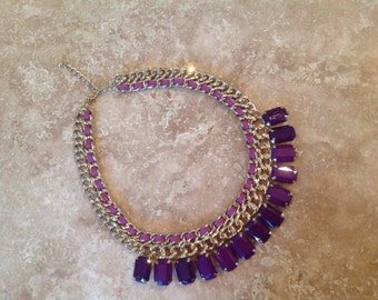 Gold and purple bib necklace
