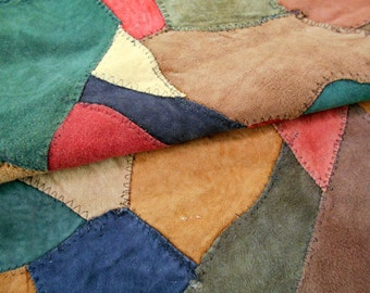 Suede Leather Scraps, Lightweight Mosaic Leather Scraps, Brown Red Green Suede Remnants, LOT 6018
