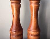 "Vintage Teak Baribocraft Peppermill & Salt Shaker Set, 12"" Tall, Very Nice."