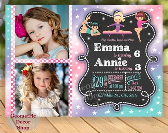 GYMNASTIC Birthday Invitation Gymnastics Gymnastic Joint Combined Dual Double Invite Party Girl Pink Aqua Teal Purple Photo Photograph BDG10