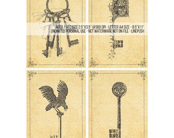 Sale! ACEO Vintage skeleton Keys. Gothic monogram keys. Fleur de Lis. Raven skeleton key. Decoupage. Printables. ACEO ATC Collage Sheets.