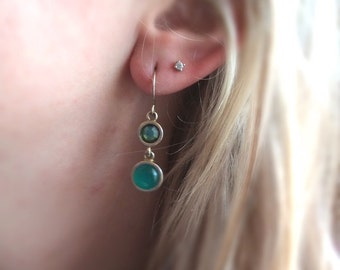 Earthy Green and Gold Earrings