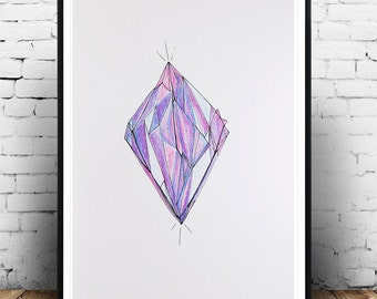 Original pencil and ink drawing, Gemstone drawing, Amethyst, Nature Landscape, Original Drawing, Sketch