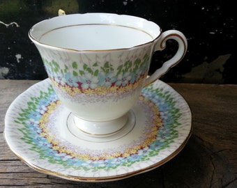 "Pretty floral vintage Royal Stafford ""Glendale"" tea cup and saucer made in 1950's"