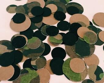 "Handmade ""CAMO MADNESS"" Green Camo, Brown, & Black Circle Confetti, Camo Birthday party, Army Party, Boys Birthday"