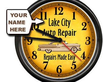 Mechanic Auto Repair Body Car Detail Shop Sign Personalized Your Name Wall Clock
