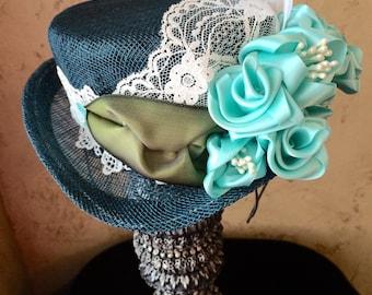 Teal Green Sinamay Top Hat