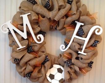 Burlap sports wreath, burlap soccer wreath, sports wreath with initial, burlap wreath, soccer wreath, burlap soccer wreath, multi sports