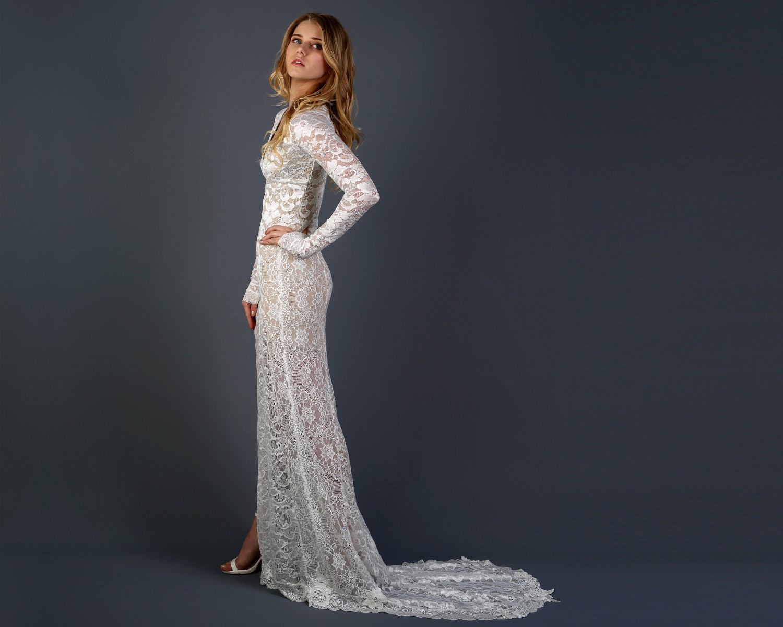 Long Sleeve Boho Wedding Dress With Elegant Lace Train Deep V