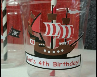 12 Pirate Themed Party Cups with Striped Straws and Lids!, Pirate Party Cups