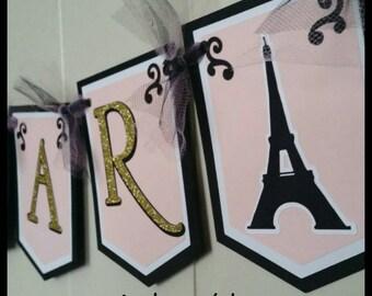 Parisian Happy Birthday Banner, Paris Name Banner w/ tulle. It's  A Boy/Girl Baby Shower Banner