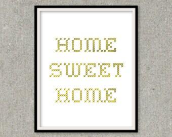 Home Sweet Home Gold Foil Print, Word Art, Wall Decor Inspiration Print, Gift Ideas