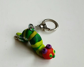 Hungry caterpillar polymer clay keyring,kawaii,charm,handmade