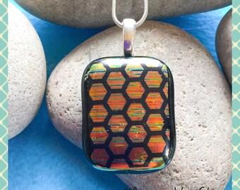 Dichroic Fused Glass Jewellery Necklace Pendant Jewelry Art Glass  Handmade Gift Minerva Hot Glass