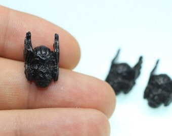 1/5/25 Pcs Antique Black Planet of the Apes Beads, 18mm x 11mm Ape with Winged Helmet, Ape with Helmet Charms