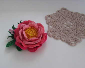 Knitted Rose Brooch