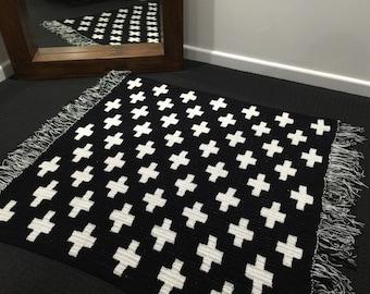 Crochet Rug Large Nursery Kids Childs Living Bedding Decor Black & White Cross ON SALE