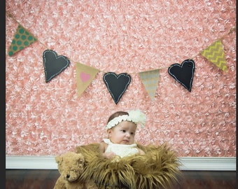 Instant Download - Newborn Digital Backdrop Pink Background with Heart Garland