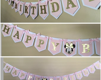 Minnie Mouse happy birthday banner in pink and gold theme