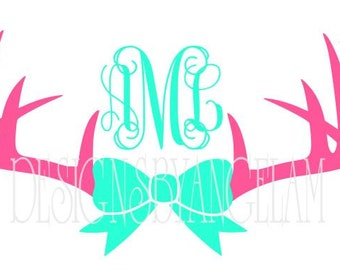 Deer Antlers & Bow  Monogram Initials  SVG Digital cutting file  Instant Download - Use on your cutting machine Vector